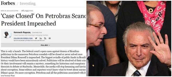 Forbes Investigações de corrupção cunha temer impeachment Brasil