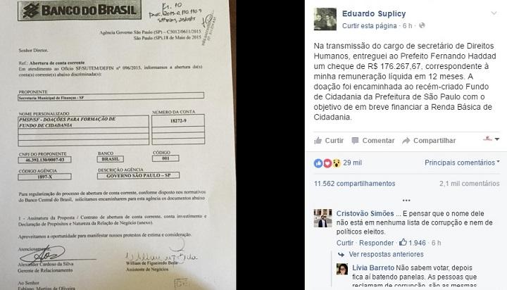 Eduardo Suplicy devolve salário prefeitura