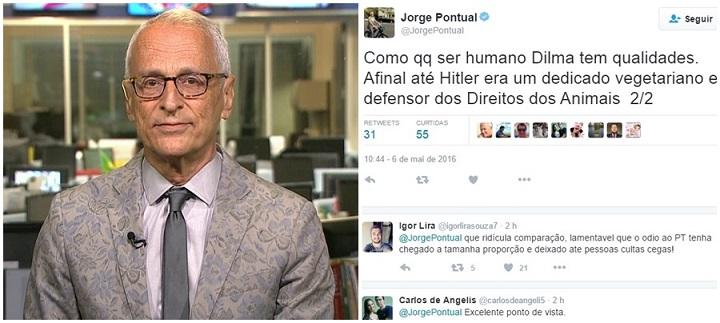 jorge pontual Jornalista da Globo faz paralelo entre Dilma e Hitler