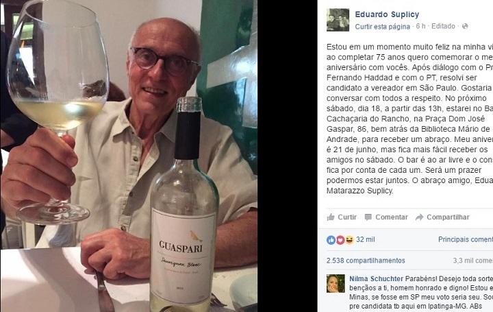 eduardo suplicy aniversário facebook