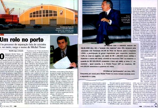 inquérito propina michel temer veja 2001