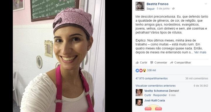 jornalista Beatriz Franco preconceito
