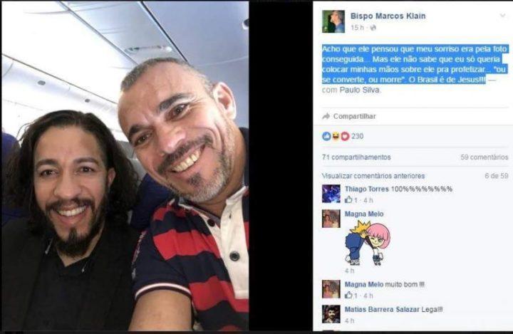selfie com Jean Wyllys bispo marcos klein