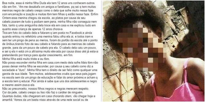 racismo menina negra mãe desabafo