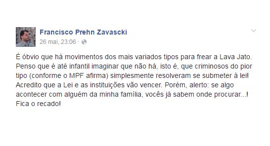 Post do filho de Teori Zavascki em maio de 2016