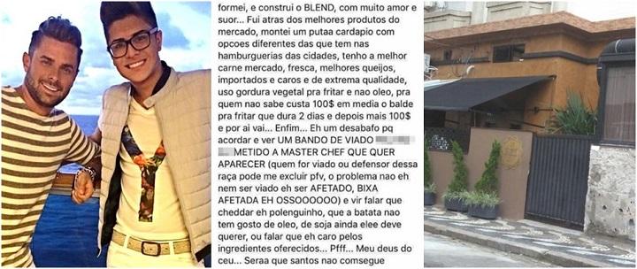 restaurante em Santos atacou casal gay blend hamburgueria