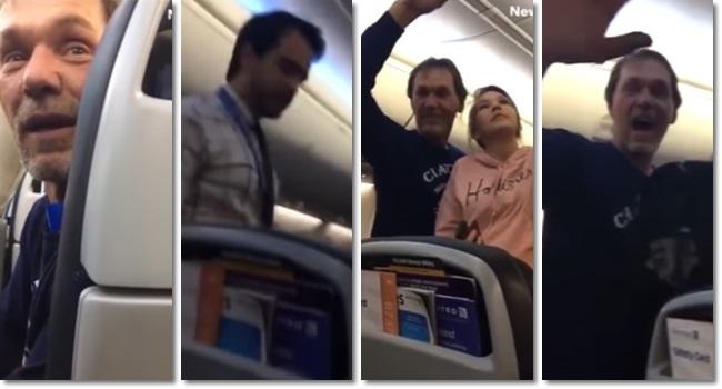 homem reirado avião comentários racistas