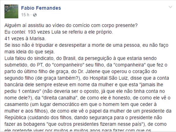 publictário Fábio Fernandes achincalha velório marisa lula pt ódio