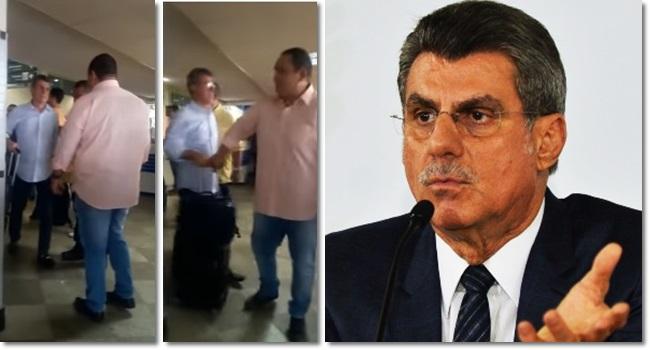 Romero Jucá ladrão gritos aeroporto pilantra