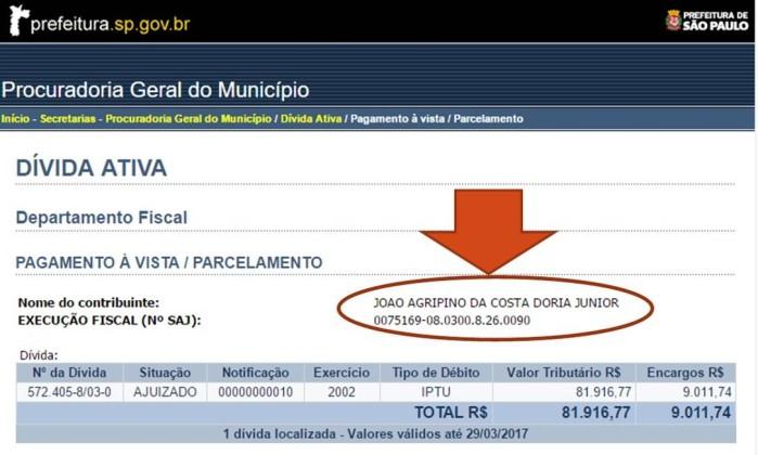 João Doria IPTU paga 90 mil