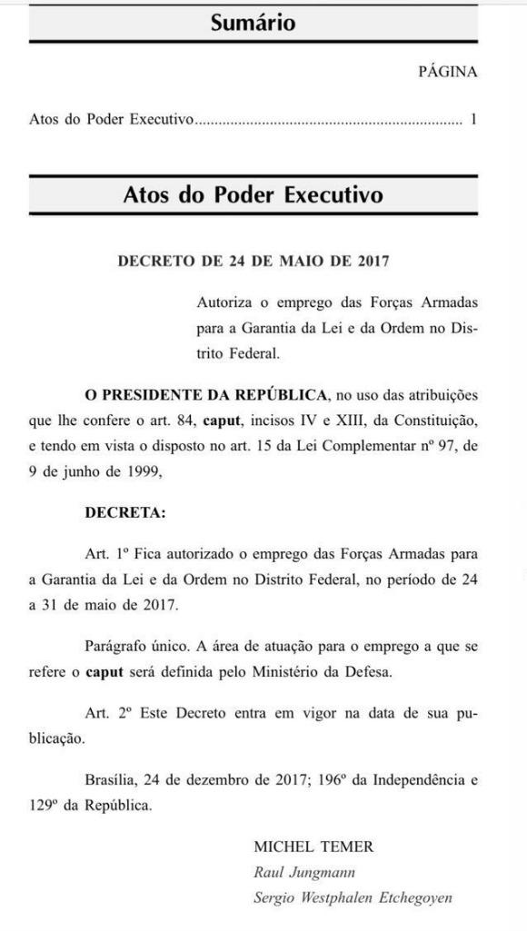 decreto michel temer forças armadas