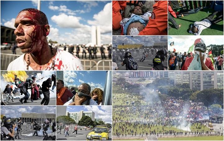 repressão pm manifestantes Brasília