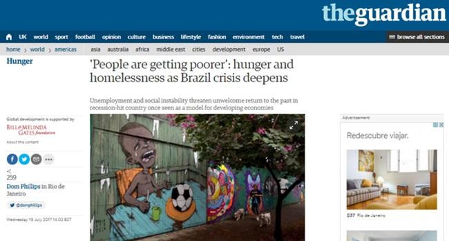 the guardian Brasil pode voltar ao mapa da fome desigualdade políticas públicas
