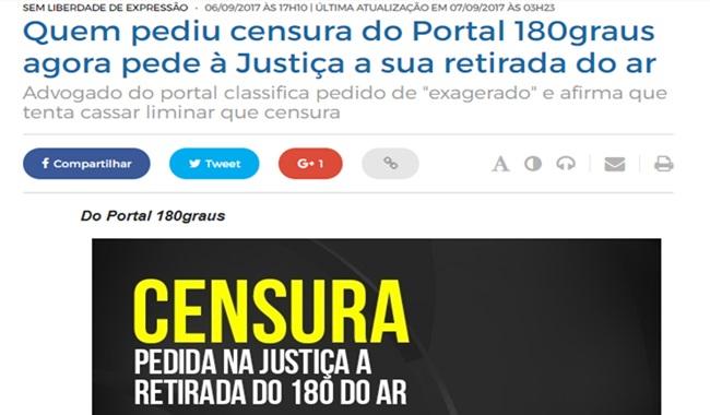 180graus site braisleiro sair do ar censura corrupção piaui
