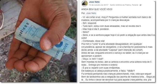 história relatada técnico eletricista pobreza corta luz redes sociais facebok