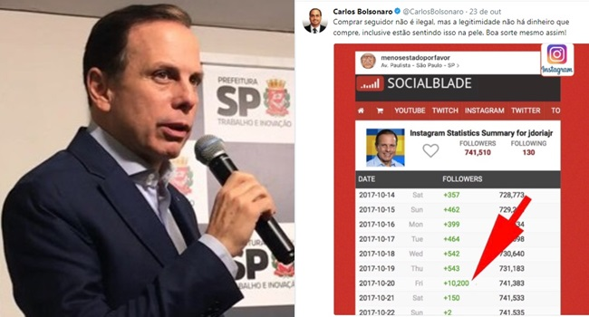 joão doria rebate filho bolsonaro carlos acusado comprar seguidores