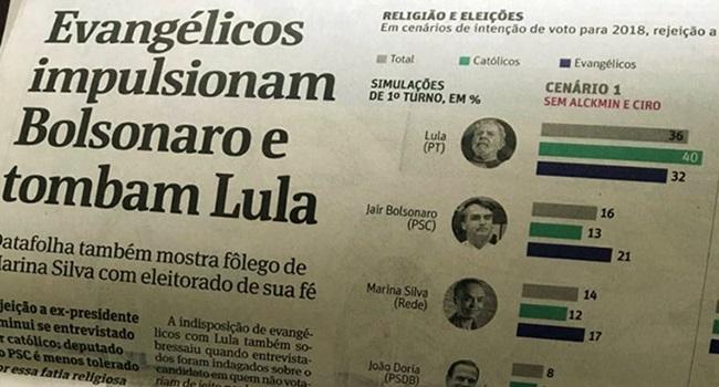 manipulação folha pesquisa eleitoral religiosos lula bolsonaro marina católicos evangélicos