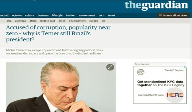 the guardian michel temer ainda presidente brasil