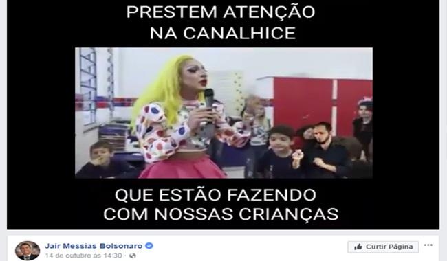 vídeo falso publicado bolsonaro ódio escola crianças drag homofobia