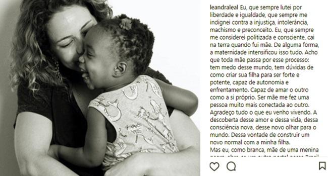 atriz posta foto filha negra leandra leal contra preconceito racismo