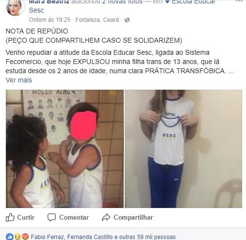 mãe filha trans expulsa escola