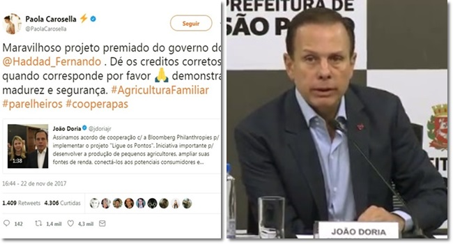 joão doria desmascarado vangloriar projeto haddad premiado paola