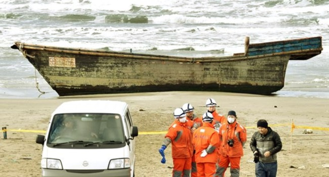 navio fantasma praia Oga japão