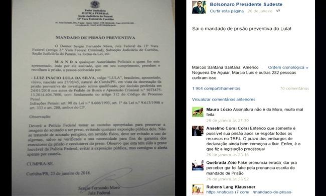 falso mandado prisão lula internet apoiadores bolsonaro eleições 2018