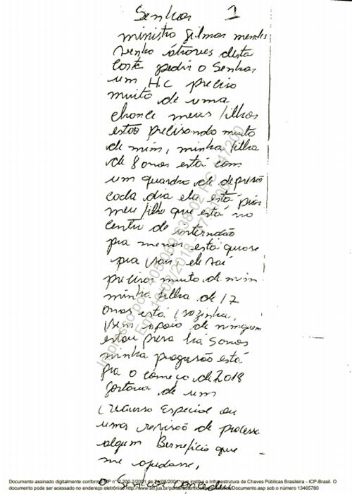 Detenta escreve para Gilmar Mendes HC presa lava jato