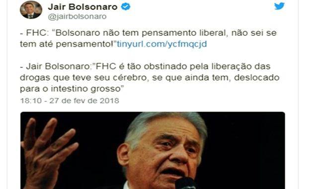 jair bolsonaro e fhc trocam farpas direita eleições 2018