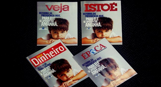 maiores revistas do Brasil mesma sobrecapa propaganda publicitaria previdência governo temer