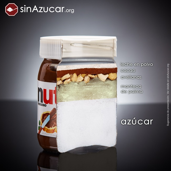 quantidade açúcar alimentos consumidos vendidos nutella