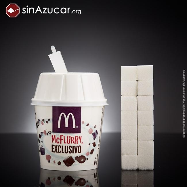 quantidade açúcar alimentos consumidos vendidos McFlurry
