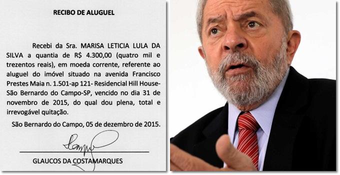 Recibos de aluguel de Lula não falsos sérgio moro lava jato