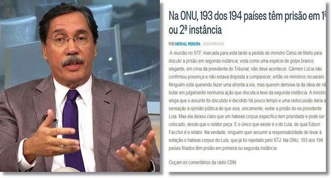 fake news de Merval Pereira sobre a presunção de inocência