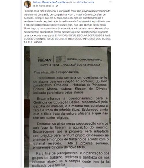 censurar livro sobre cultura negra em escola do Rio de Janeiro