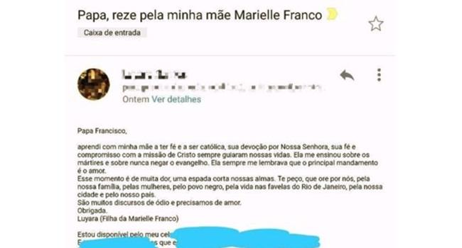 telefonema do Papa Francisco família de Marielle