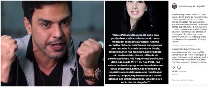 Zezé Di Camargo Marielle Franco