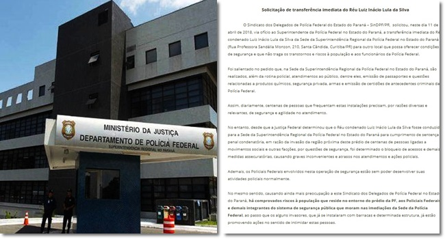 Delegados da PF pedem transferência de Lula para presídio militar