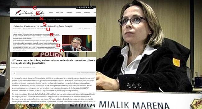 Erika Mialik Marena Delegada tenta censurar site independente e STF derruba decisão