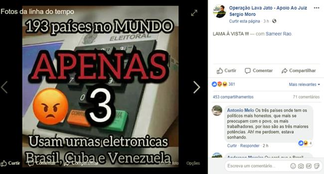 Imagem falsa diz que apenas 3 países adotam urna eletrônica boataria fake news