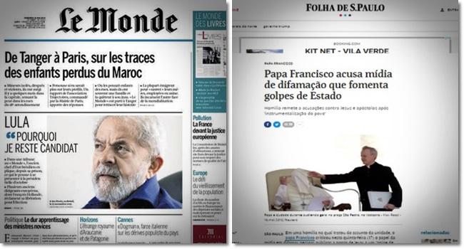 mídia quis esconder Lula e o Papa Francisco golpe globo folha estadão