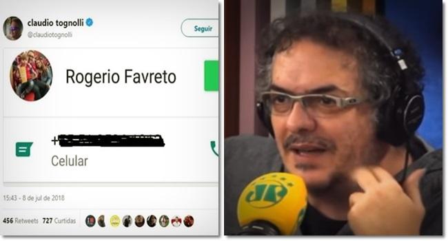 Cláudio Tognolli Jornalista da Jovem Pan divulga telefone do desembargador Rogério Favreto