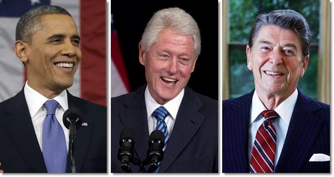 melhores presidentes da história dos EUA obama Bill Clinton Reagan