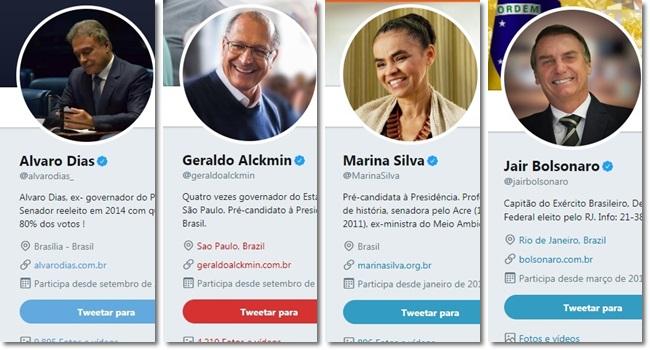 campeões de seguidores falsos no Twitter Alvaro Dias Alckmin Marina Silva Bolsonaro
