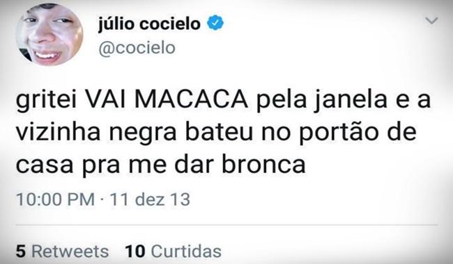 Patrocinadores Júlio Cocielo youtuber racista tinham a obrigação de conhecê-lo melhor