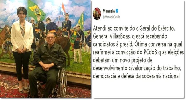 Manuela D'Ávila foi ao beija mão do general Villas Bôas