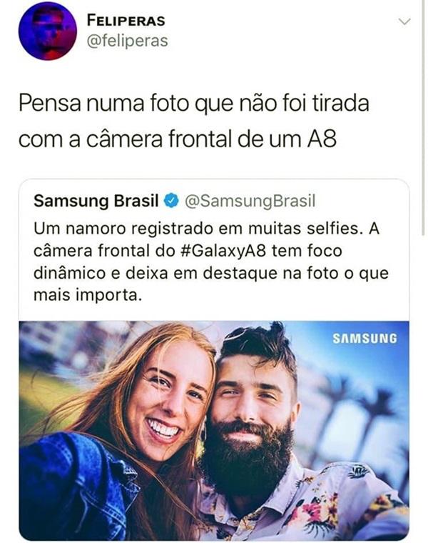 Mentira Samsung viraliza redes sociais internet câmera frontal a8
