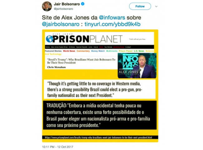 mestre fake news dos EUA elogia Jair Bolsonaro