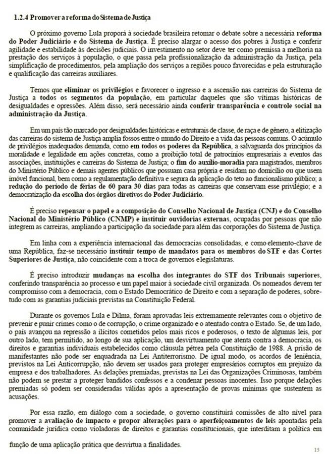 Plano de governo de Lula auxílio-moradia juízes